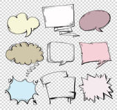 Set of hand-drawn comic style talk clouds