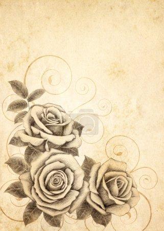 Freihandzeichnung Rose 03