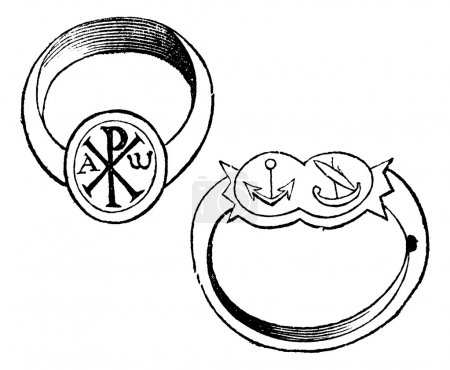 Two christian episcopal rings with symbols vintage engraving