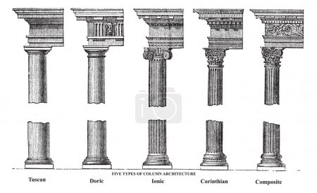 Five types of old column architecture old engraving