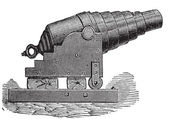 Armstrong cannon or Armstrong gun old engraving Old engraved illustration of an Armstrong cannon