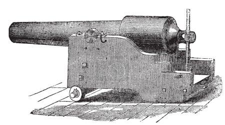 Parrott rifle or Parrott cannon vintage engraving.