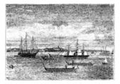 Auckland harbor in the 1890s vintage engraving New Zealand Old engraved illustration of Auckland harbor in the 1890s showing ships