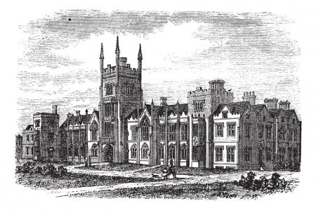 Illustration for Queen's University in Belfast, Ireland, during the 1890s, vintage engraving. Old engraved illustration of Queens University in Belfast. - Royalty Free Image