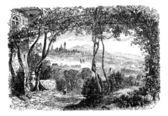 Bergamo in Lombardi Italy vintage engraving