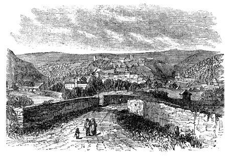 Besancon city, Franche-Comte , France, vintage engraving.