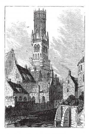 Belfry of Bruges, or Bellfort, Bruges, Belgium. Vintage engravin