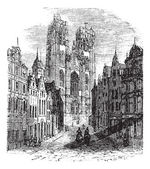 The Church Saint-Gudula of Brussels Belgium Vintage engraving Old engraved illustration of a Roman Catholic church at the Treurenberg hill in Brussels Belgi