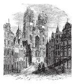 The Church Saint-Gudula of Brussels Belgium Vintage engraving