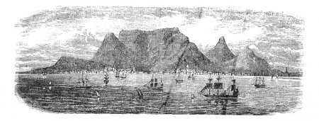 Illustration for Scenic view from Table bay vintage, Cape Town, South Africa vintage engraving. Old engraved illustration view of Table Mountains near Cape town with ships, 1890 - Royalty Free Image