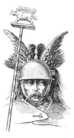 Norman helmet or galea vintage engraving