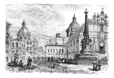 The Elephant fountain,Catania vintage engraving