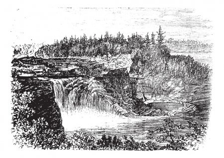 Chaudiere river Falls,in Quebec, Canada vintage engraving