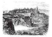Chaudiere řeka padá, v Quebecu, Kanada vintage rytí