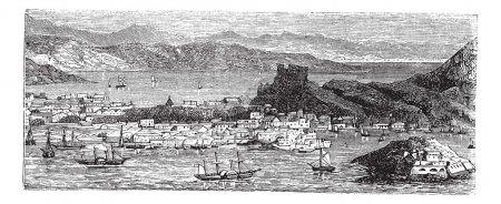 Illustration pour Christianisé dans les îles Vierges américaines, dans les années 1890, gravure vintage. Ancienne illustration gravée de Christiansted. - image libre de droit