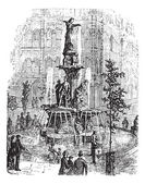 Tyler Davidson Fountain or Genius of Water or The Lady or The Fountain in Cincinnati Ohio USA during the 1890s vintage engraving Old engraved illustration