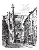 Clermont-Ferrand Cathedral in Auvergne France vintage engravi