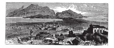 Acrocorinth in Corinth, Greece, vintage engraving