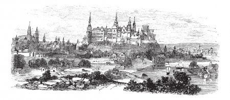 Illustration for Wawel Castle or Royal Castle in Krakow, Poland, during the 1890s, vintage engraving. Old engraved illustration of Wawel Castle. - Royalty Free Image