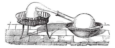 einfache Destillationsapparatur, Vintage-Gravur