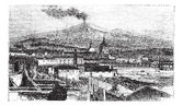 Mount Etna in Sicily Italy during the 1890s vintage engraving Old engraved illustration of Mount Etna as viewed from Catania City