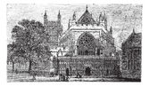 Exeter Cathedral in England United Kingdom during the 1890s vintage engraving Old engraved illustration of Exeter Cathedral