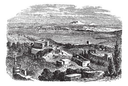 Sea of Galilee or Lake of Gennesaret in Israel vintage engraving