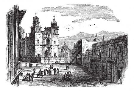 Illustration pour Cathédrale de Guanajuato gravure vintage. Ancienne illustration gravée du bâtiment historique de la cathédrale de Guanajuato, années 1890. - image libre de droit