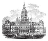 Hartford Connecticut New State House vintage engraving