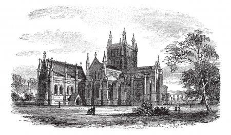 Hereford Cathedral,England vintage engraving