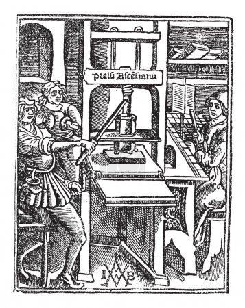 Gravure vintage de Washington presse manuelle