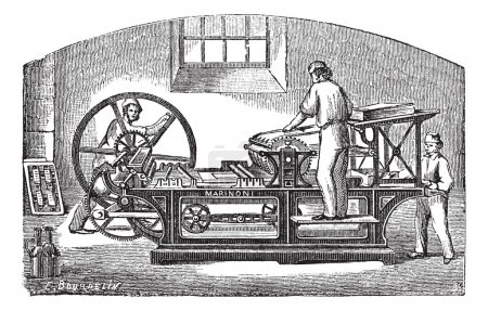 Illustration for Marinoni printing press, vintage engraving. Old engraved illustration of Marinoni printing press with three workers operating it. - Royalty Free Image