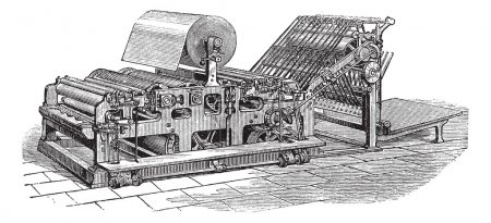 Hoe web perfecting press vintage engraving