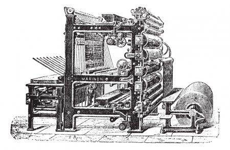 Illustration pour Imprimerie rotative Marinoni, gravure vintage. Ancienne illustration gravée de la presse rotative Marinoni. - image libre de droit