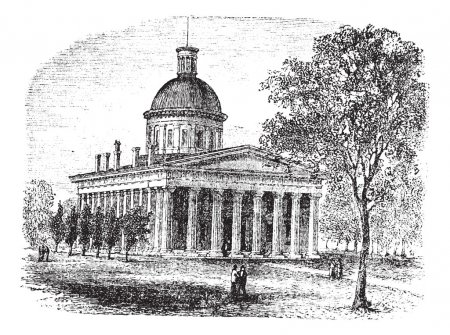 Indiana Statehouse in Indiana America vintage engraving