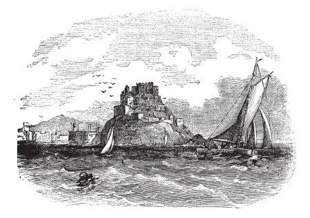 Mont Orgueil Castle in Jersey vintage engraving