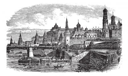 The Moscow Kremlin and river,Russia vintage engraving
