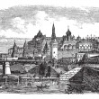 The Moscow Kremlin and river,Russia vintage engrav...