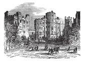 Lancaster castle Lancashire vintage engraving