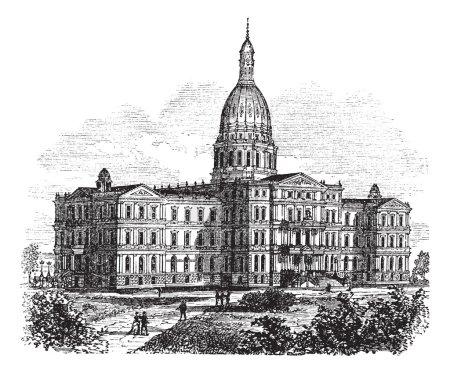 Michigan State Capitol Building. Lansing, United States vintage