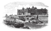 The Royal Palace of Madrid in Spain vintage engraving