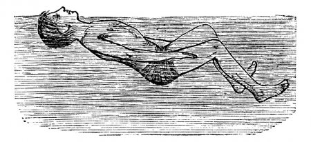 Illustration for Back Float with Flutter Kick, vintage engraved illustration. Trousset encyclopedia (1886 - 1891). - Royalty Free Image