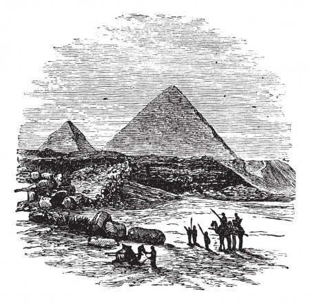 The Pyramids of Giza,vintage engraved illustration...