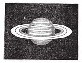 Saturn with its Rings vintage engraving