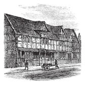 Shakespeare's Birthplace at Stratford-upon-Avon, vintage engravi