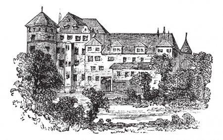 Stuttgart, the former palace, vintage engraving.
