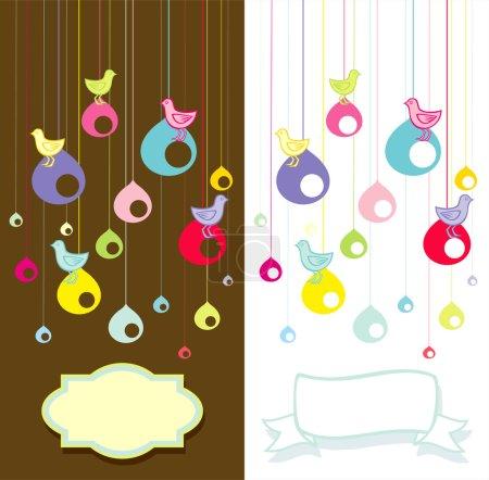 Illustration for Illustration of birds sitting on the nest - Royalty Free Image