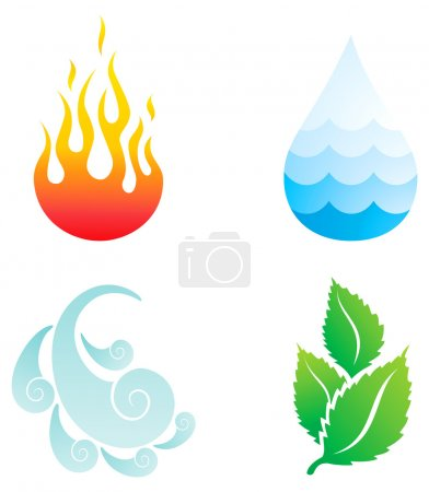 Illustration for Illustrations of four natural elements of fire, water, wind and plants - Royalty Free Image