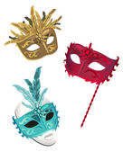 Venetian Carnival Masks isolated on white background