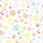 Summer pattern of flowers and butterflies